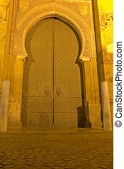 Main door of the cathedral-mosque of Cordoba. Night Scene....