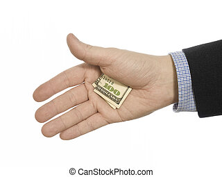 Hidden tip - A man\\\'s hand hiding a hundred dollars tip.