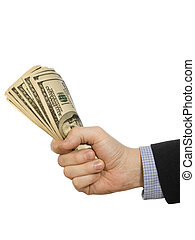 For a few dollars more - A mans hand holding a handful of...