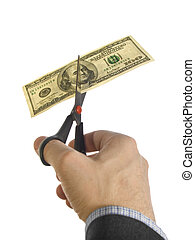 Cut the bill - A man´s hand cutting a one hundred dollar...