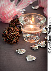 Valentines ornaments - Valentines day table setting in pink...