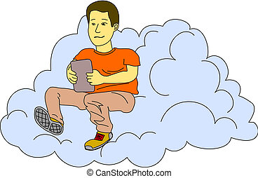 Internet In The Cloud - Young man checks his tablet while he...