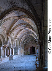 cloister in abbey - cloister in the abbey of Fontfroide,...