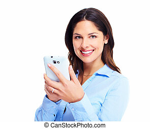 Woman with a cell phone Isolated on white background