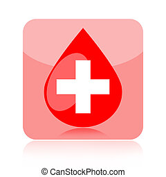 Blood drop icon with medical cross