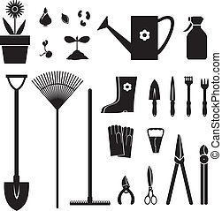 Garden equipment set - Set of silhouette images of garden...