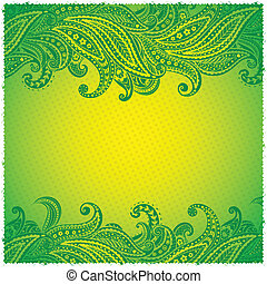 Beautiful green paisley ornamental frame