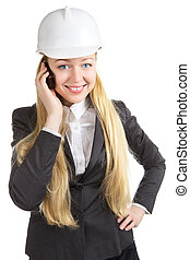 Business Woman Talking On Cell Phone - engineer woman...