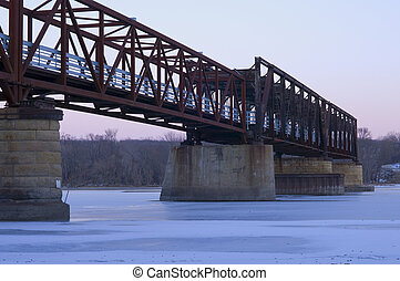 Old Rock Island Swing Bridge now a recreational pier on the...