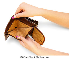 Empty purse in hands On a white background