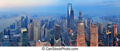Shanghai aerial at sunset