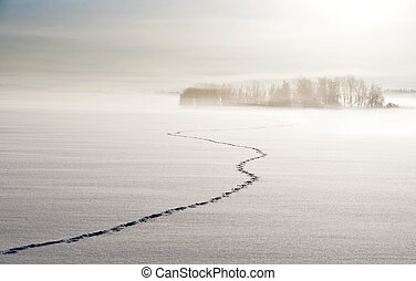 Footsteps on lake in winter, with small islands and trees in...