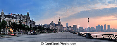 Shanghai Waitan morning panorama with historic buildings...