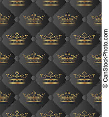 black background seamless with crowns