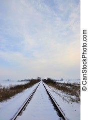 Railroad tracks in a winter landscape