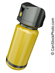 Pepper spray - Yellow tear gas container isolated on a white...