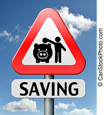 saving money in piggy bank deposit account with savings plan