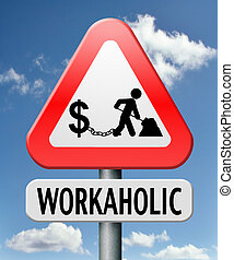 workaholic money slave working hard to earn income by doing...