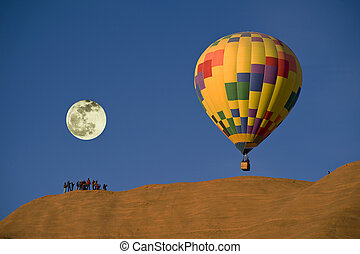 Hot Air Balloon. - Hot air balloon with full moon.