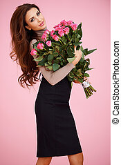 Sexy woman with Valentine roses - Beautiful sexy woman...