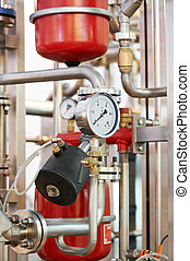 water system Boiler room equipments - Closeup of manometer,...