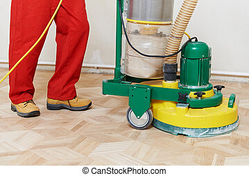 Parquet Floor maintenance by grinding machine - carpenter...