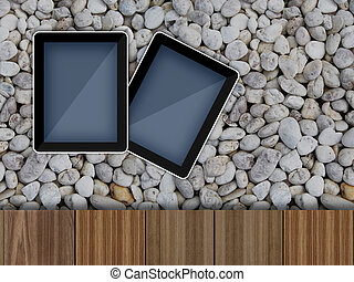 Tablet pc computer on White stone