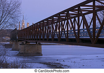 Rock Island Swing Bridge at Dusk - Old Rock Island Swing...