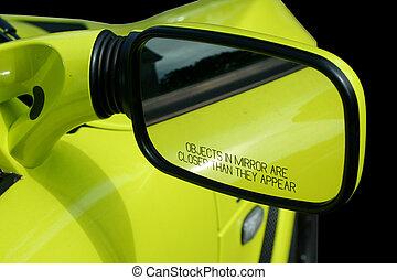 Automobile, sport, giallo, specchio