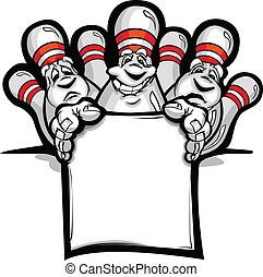 Happy Bowling Pins with Sign Cartoon Vector Illustration -...