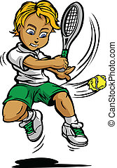 Kid Tennis Player Boy Swinging Racquet at Ball