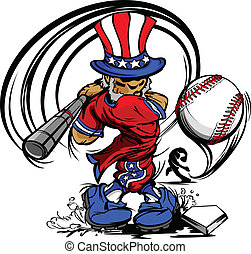 Uncle Sam Swinging Baseball Bat - Baseball Cartoon Uncle Sam...