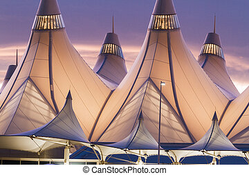 Denver International Airport - Glowing tents of DIA at...
