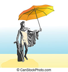 The god Apollo with umbrella