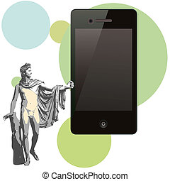 The god Apollo and big  phone