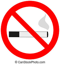 Prohibitory sign with a cigarette and smoke