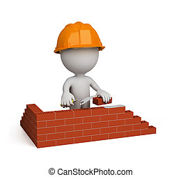 3d person – builder - 3d person builds a house. 3d image....