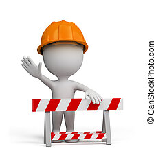 3d person – repairman - Repairman stands by the barrier. 3d...