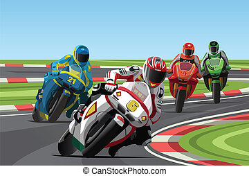 Motorcycle racing - A vector illustration of motorcycle...