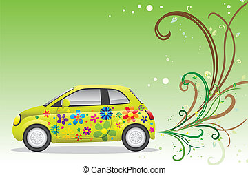 Green car - A vector illustration of a green car for...