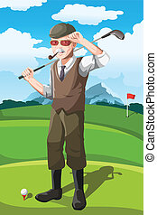 Senior golfer - A vector illustration of a senior golfer