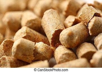 Wooden pellets closeup