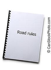 Road rules register on white