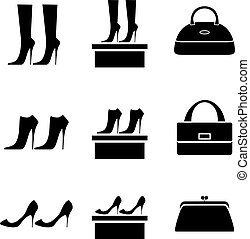 Black icons female bags and shoes on a white background