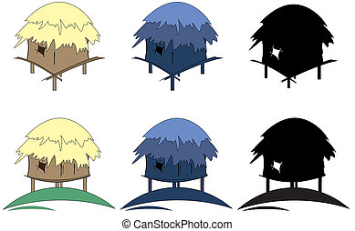 tropic huts  - six colored tropic huts silhouette