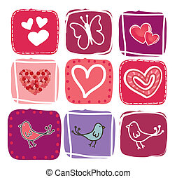 Valentines day icons over white background
