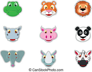Cute Animal Head Icon - Vector Illustration Of Cute Animal...