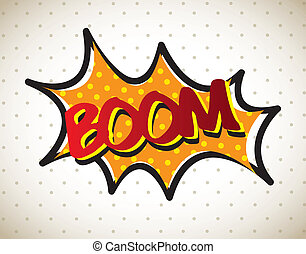 Boom comic over vintage background vector illustration