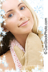 mittens - picture of lovely woman in comforter and mittens