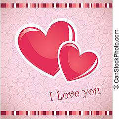 Valentines day card over pink background vector illustration